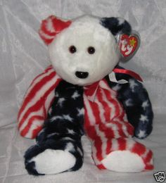 SPANGLE the USA Bear - Ty Beanie Baby BUDDY (buddies)