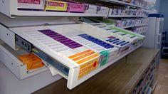 Pharmacy Pull-out Shelf System Shelf System, Shelving Systems, Medicine Storage, Pharmacy Design, Drawer Design, Health Care, Shelves, Hospitals, House Styles