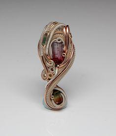 Brazilian Tourmaline Heady wire wrap handmade jewelry. $350.00, via Etsy.