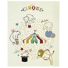 And this adorable circus print, framed in white would be really sweet.