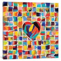 """East Urban Home 'Love of Color II' Painting Print on Wrapped Canvas Size: 12"""" H x 12"""" W x 0.75"""" D"""