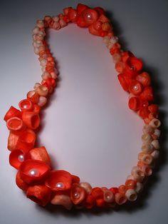 Moira K Lime, (silk fiber, plastic, pearls)