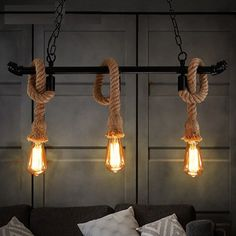Edison Loft Style Vintage Pendant Light Fixtures RH Industrial Hemp Rope Water Pipe Hanging Lamp Luminaire Lamparas Colgantes