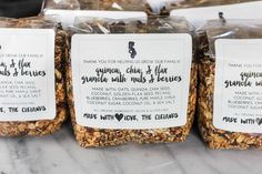 The perfect mix of sweet and salty, this granola is packed with heart healthy oats, seeds, and quinoa, and studded with sweet berries, crunchy pecans and toasted coconut. It makes a great DIY gift when packaged in a cellophane bag and can be easily personalized with a cute print-at-home tag.