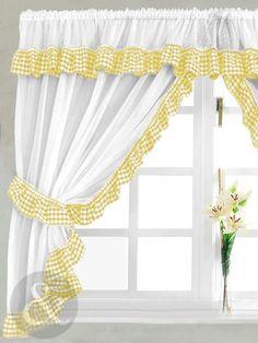 Prestigious Photos for Yellow Kitchen Curtains Curtains Yellow And White, Yellow Kitchen Curtains, Gingham Curtains, Country Curtains, Cafe Curtains, Drapes Curtains, Wooden Curtain Poles, Rideaux Design, Yellow Cottage