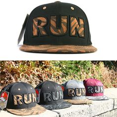 Unisex Mens Womens RUN Logo Embroidery Hip Hop Brim Baseball Caps Snapback Hats #hellobincomHOW #BaseballCapHats