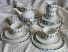 Teeservice weiß - blau Melitta Wien