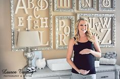 framed letters great nursery idea.  Cute to frame just your family initial somewhere in the house too.
