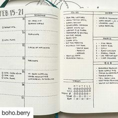 A beautifully organized weekly spread from the BuJo master boho.berry  #bulletjournalcollection
