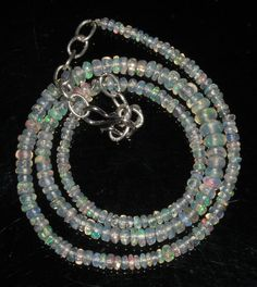 """35 Ctw 1Necklace 2to5mm 16"""" Beads Natural Genuine Ethiopian Welo Fire Opal 70748"""