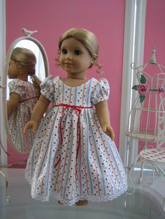 18 inch American Girl Doll Clothes / Flannel nightgown  (O). $12.95, via Etsy.