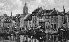 Kaliningrad, Soviet Union (formerly Königsberg, East Prussia). View across Pregolya River of the fish market. Photo postcard, c.1920.