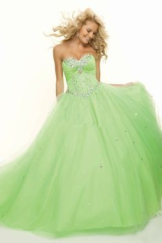 2013 Quinceanera Dresses Green A Line Sweetheart Floor Length Color As Picture…