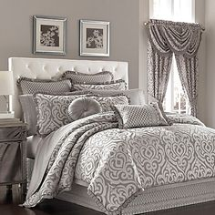Surround yourself in timeless luxury with the J. Queen New York™ Luxembourg Comforter Set. Adorned with a large-scale damask pattern in antique silver, the lavish bedding instantly transforms your bedroom into an opulent boudoir.