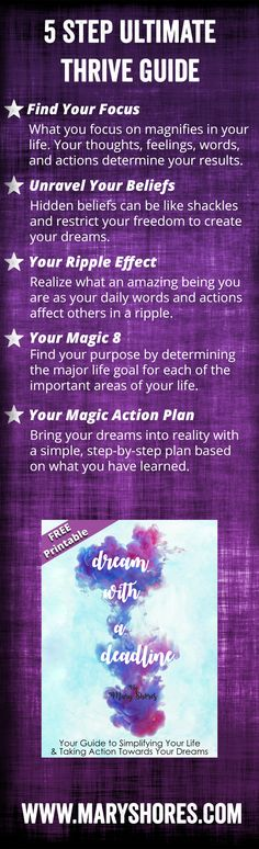 [FREE PRINTABLE] Ultimate Thrive Guide Workbook - Dream with a Deadline - Hay House Author Mary Shores - Sign Up to Download