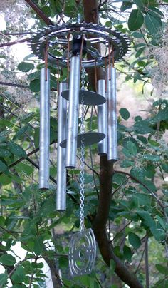 Bicycle Gear wind chime..interesting. I may have to put some color and btighten it up a bit but I love the idea. $32.00