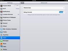 iPad Tip ~ How to toggle the debug console