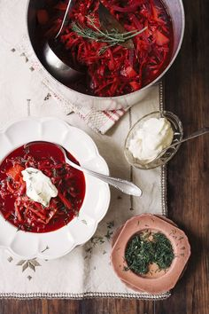 As a kid, Tanya didn't care much for her Mum's take on this classic beet soup but now she's grown to love it. Tanya asked her Mum to share the recipe with her (and us) Russian Dishes, Russian Recipes, Beet Soup, Borscht, Cooking Recipes, Healthy Recipes, Soup And Sandwich, International Recipes, Soups And Stews
