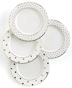 kate spade new york Set Of 4 Larabee Road Polka Dot Tidbit Plates - Fine China - Dining & Entertaining - Macy's Bridal and Wedding Registry