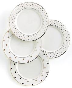 kate spade new york Set Of 4 Larabee Road Polka Dot Tidbit Plates - Fine China - Dining & Entertaining - Macy's Bridal and Wedding Registry