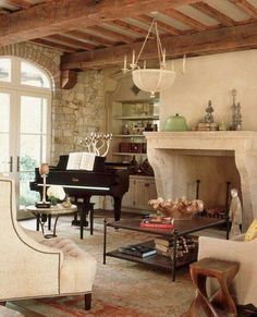 like fireplace but add rock above to ceiling