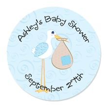 Stork Baby Boy - 24 Round Personalized Baby Shower Sticker Labels