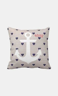 Nautical Anchor Pillow Cover Navy Heart Ahoy Marine Beach Decor Cotton and Burlap Pillow