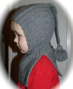 Den kreative husmor: Grå hals-lue med dusk. Med utgangspunkt i Pixielue. Fin som nisselue til minstemann? Baby Hats Knitting, Knitting For Kids, Baby Knitting Patterns, Free Knitting, Knitted Hats, Crochet Hooded Cowl, Crochet Baby, Knit Crochet, Baby Barn