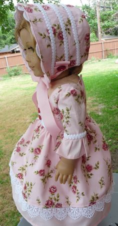 "18"" Doll Clothes ""Pinkalicious"" Historical Civil War Style Dress Bonnet Fits American Girl Dolls Cecile, Marie Grace, Addy"