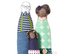 Mixed Family , Portrait dolls , Parents & girl , handmade dolls , soft sculpture , 3-D family portrait , likeness dolls , look alike dolls
