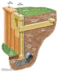 How to build a retaining wall - inexpensive retaining wall that neither backs nor . - How to Build a Retaining Wall wall - Wooden Retaining Wall, Cheap Retaining Wall, Building A Retaining Wall, Landscaping Retaining Walls, Hillside Landscaping, Sleeper Retaining Wall, Retaining Wall Steps, Terraced Backyard, Landscaping Ideas