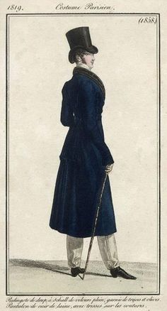 Men's daywear and redingote, 1819.