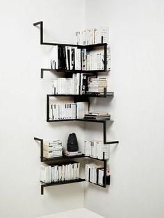 Corner Wall Shelves Design Ideas for Living Room 14 Corner Bookshelves, Creative Bookshelves, Corner Wall Shelves, Metal Shelves, Book Shelves, Pipe Bookshelf, Bookcases, Black Wall Shelves, Black Bookshelf