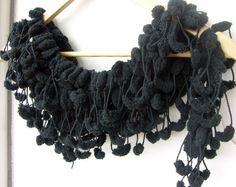 Crochet Scarf Black Pompom Scarf