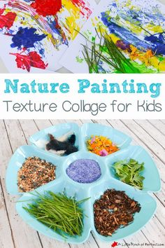 Nature Painting Texture Collage for Kids-Process art + exploring nature combined; could help with adding loose parts to the curriculum Painting Activities, Nature Activities, Outdoor Activities, 5 Year Old Activities, Painting Crafts For Kids, Nature Collage, Nature Paintings, Art Nature, Kids Collage