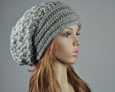 10 off Hand knit Chunky Hat with Band in grey by MaxMelody on Etsy, $36.00