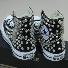 Genuine CONVERSE with studs  chains All-star Chuck Taylor Sneakers Sheos
