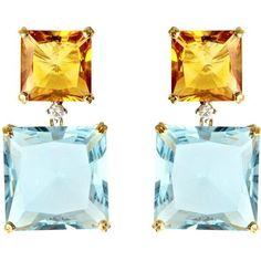 Kiki McDonough Topaz, citrine and diamond earrings via Polyvore