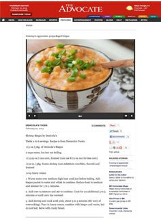 Helana Brigman article on Denicolas Seafood Bisque. Directions on how to make it.
