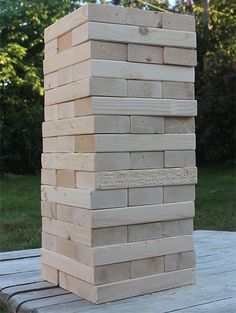 Make an outdoor Jenga set