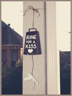 Ring for a Kiss Wedding Bell, Rustic, Vintage, Country, Heart, Jute Twine, Lace