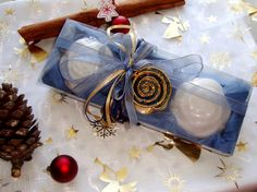Blue-Denim Handmade Gift Set for Women: Three cream Colour Royalty Luxury Glycerin Scented Soaps with a lovely Gold-Blue enameled Jewelry Necklace in the packaging.A Unique gift for Valentine Day, a very elegant, stylish gift for any occasion: Mothers Day, Anniversary, Feast, Birthday, Party.....