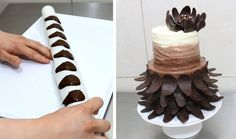 Cake decorating with chocolate offers many ways to add fun and delicious looking decorations to use when decorating chocolate cakes, white cakes, or any fl
