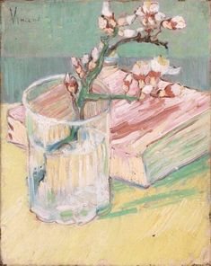 Blossoming Almond Branch in a Glass with a Book Vincent van Gogh art for sale at Toperfect gallery. Buy the Blossoming Almond Branch in a Glass with a Book Vincent van Gogh oil painting in Factory Price. Vincent Van Gogh, Van Gogh Art, Art Van, Art And Illustration, Desenhos Van Gogh, Van Gogh Pinturas, Art Amour, Van Gogh Paintings, Flower Paintings