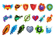 Weapon and Icons Set for Games by TopVectors on @creativemarket