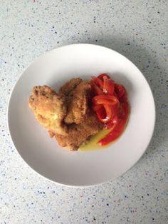 Pollo adobado con escalivada de pimientos, from Blue Cuisine