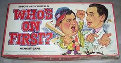 1979 Who's On First Memory Game, Abbott and Costello, price $26.