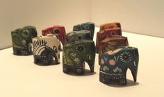 Set of Ten Hand Painted Wooden Elephants by Donellensvintage, $23.50