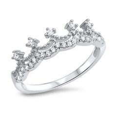 Sterling Silver New Crown CZ Design Ring Band Sz 5-10 105691123456