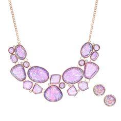 Gold & Purple Precious Stone Earrings & Necklace Set